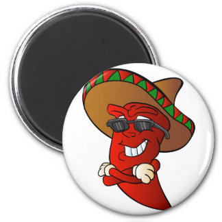 cartoon mexican pepper. 6 cm round magnet