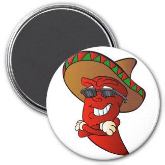 cartoon mexican pepper. 7.5 cm round magnet