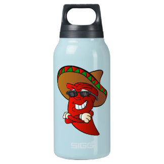 cartoon mexican pepper. insulated water bottle