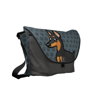 Cartoon Miniature Pinscher / Manchester Terrier Messenger Bags