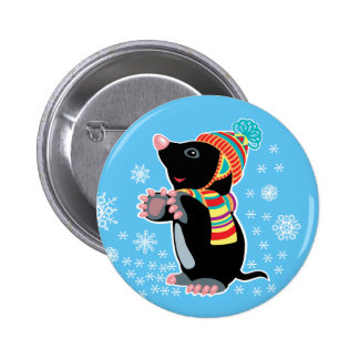 cartoon mole 6 cm round badge