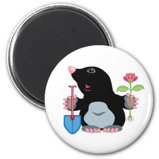 cartoon mole 6 cm round magnet