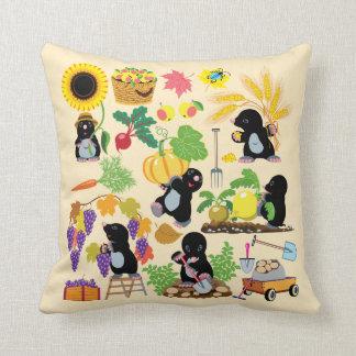 cartoon mole throw pillow