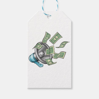 Cartoon Money Megaphone Concept Gift Tags