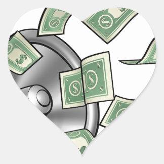 Cartoon Money Megaphone Concept Heart Sticker