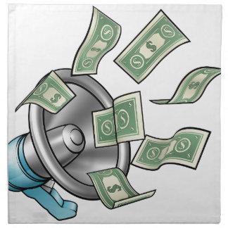 Cartoon Money Megaphone Concept Napkin