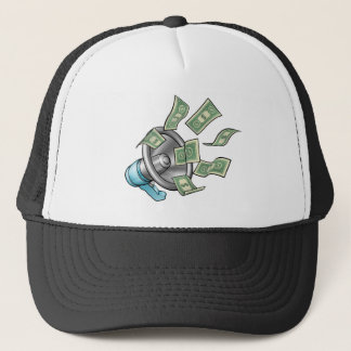 Cartoon Money Megaphone Concept Trucker Hat