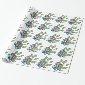 Cartoon Money Megaphone Concept Wrapping Paper