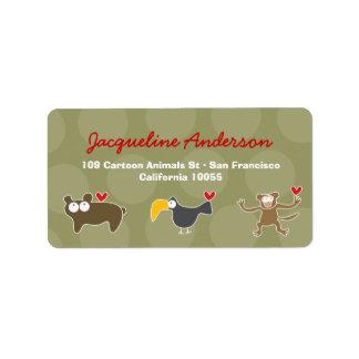 Cartoon Monkey Ape Toucan Bear  Address Labels