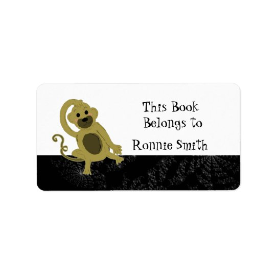 Cartoon Monkey Bookplate Label