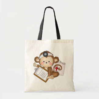 Cartoon Monkey doctor tote bag