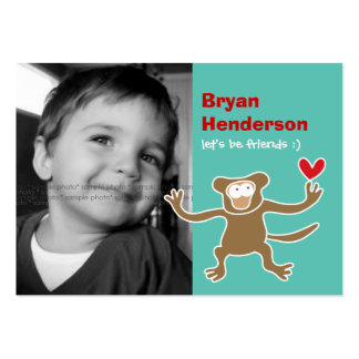 Cartoon Monkey Kids Custom Photo Playdate Card Business Card Templates
