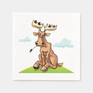Cartoon Moose Paper Napkins Disposable Napkin