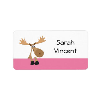 Cartoon moose - pink and white name label/tag address label