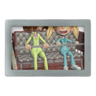 Cartoon Mother and Daughter on a Ferris Wheel Belt Buckle