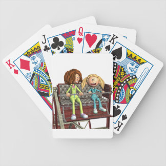 Cartoon Mother and Daughter on a Ferris Wheel Bicycle Playing Cards