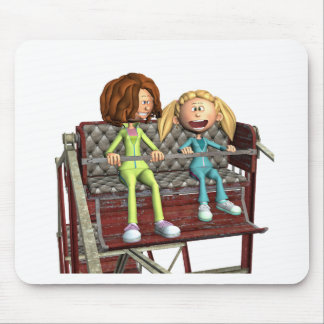 Cartoon Mother and Daughter on a Ferris Wheel Mouse Pad