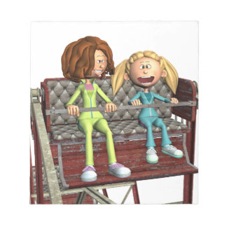 Cartoon Mother and Daughter on a Ferris Wheel Notepads