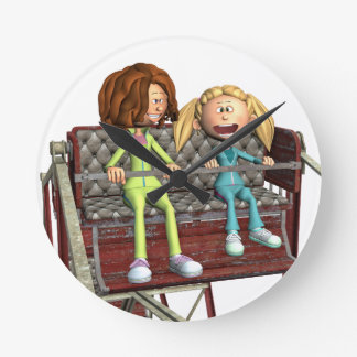 Cartoon Mother and Daughter on a Ferris Wheel Round Clock