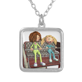Cartoon Mother and Daughter on a Ferris Wheel Silver Plated Necklace