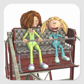 Cartoon Mother and Daughter on a Ferris Wheel Square Sticker