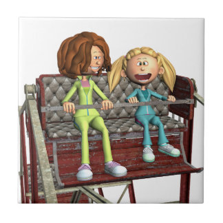 Cartoon Mother and Daughter on a Ferris Wheel Tile