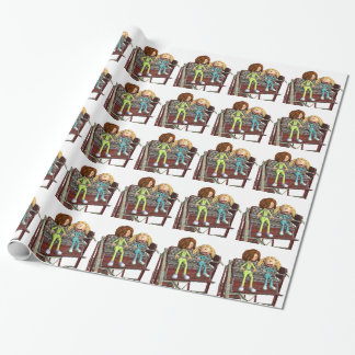 Cartoon Mother and Daughter on a Ferris Wheel Wrapping Paper
