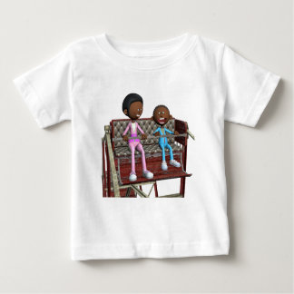 Cartoon Mother and Son on a Ferris Wheel Baby T-Shirt