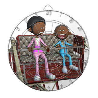 Cartoon Mother and Son on a Ferris Wheel Dart Boards