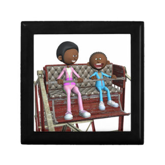 Cartoon Mother and Son on a Ferris Wheel Gift Box
