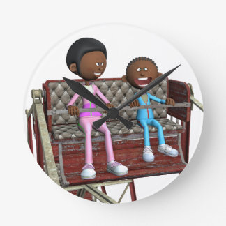 Cartoon Mother and Son on a Ferris Wheel Round Clock