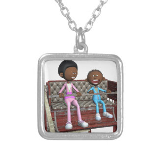 Cartoon Mother and Son on a Ferris Wheel Silver Plated Necklace