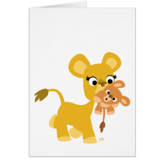 Cartoon Mother Lion and Cub greeting card