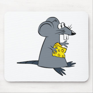 Cartoon Mouse with Cheese Mouse Pad