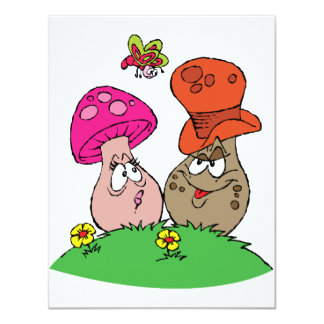 Cartoon Mushrooms Invitations