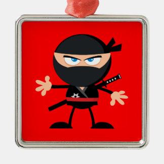 Cartoon Ninja Warrior Red Metal Ornament