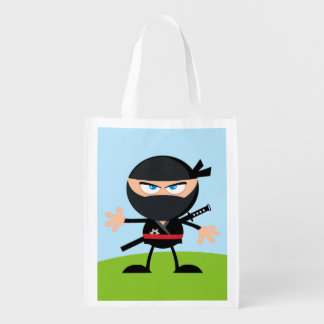 Cartoon Ninja Warrior Reusable Grocery Bag