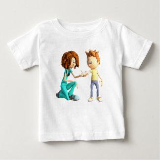 Cartoon Nurse and Little Boy Baby T-Shirt