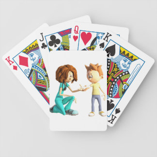 Cartoon Nurse and Little Boy Bicycle Playing Cards