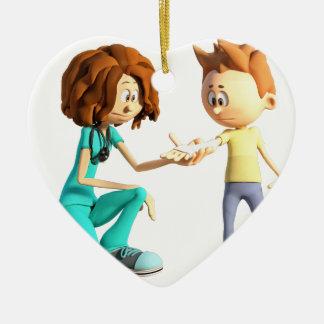 Cartoon Nurse and Little Boy Ceramic Heart Decoration
