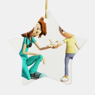 Cartoon Nurse and Little Boy Ceramic Ornament