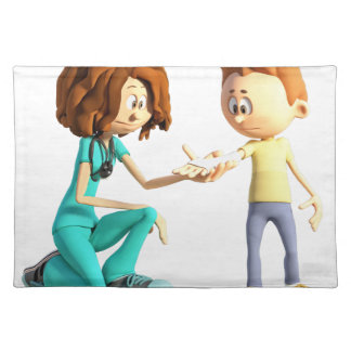 Cartoon Nurse and Little Boy Placemat