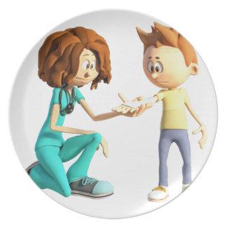 Cartoon Nurse and Little Boy Plate