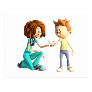Cartoon Nurse and Little Boy Postcard