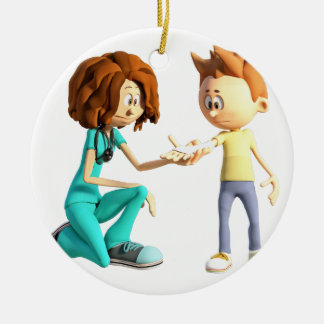 Cartoon Nurse and Little Boy Round Ceramic Decoration