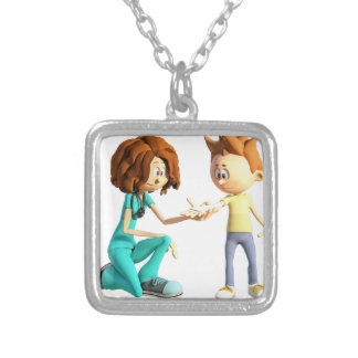 Cartoon Nurse and Little Boy Silver Plated Necklace