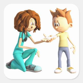 Cartoon Nurse and Little Boy Square Sticker