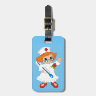 Cartoon Nurse Background Luggage Tag