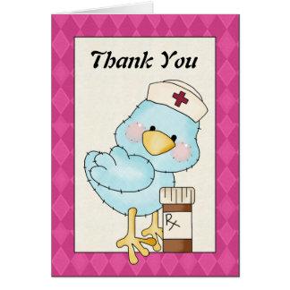 Cartoon Nurse Bird Thank You greeting card