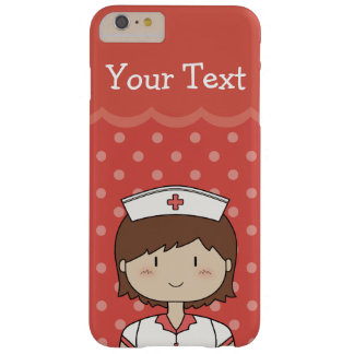Cartoon Nurse with Short Hair & Custom Text Barely There iPhone 6 Plus Case